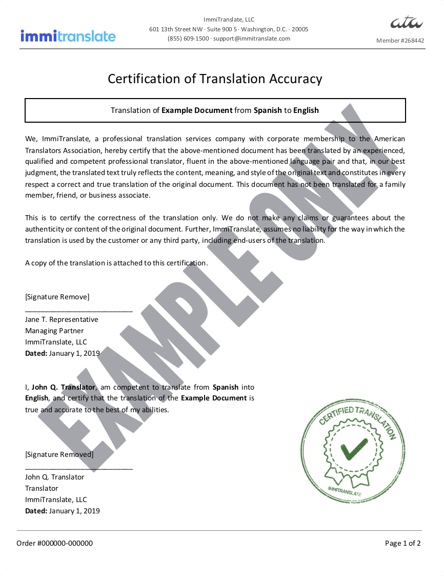 Example Certified Translation Certification
